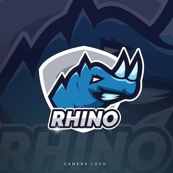 Design do logotipo do rhino mascote esport