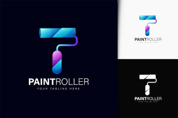 Design do logotipo do rolo de pintura com gradiente