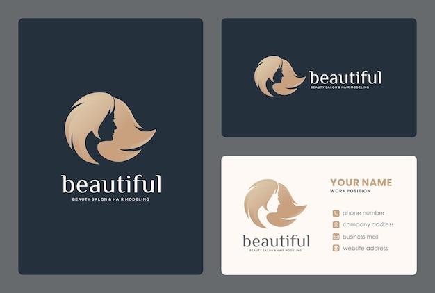 Design do logotipo do rosto da mulher / salão de beleza com modelo de cartão de visita.