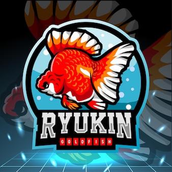 Design do logotipo do ryukin peixinho dourado mascote esport