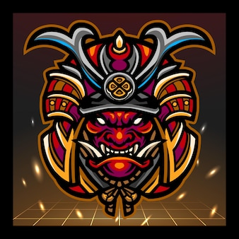 Design do logotipo do samurai head mascote esport