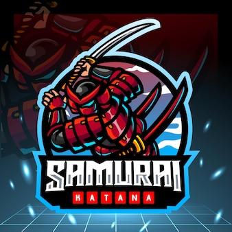 Design do logotipo do samurai mascote esport
