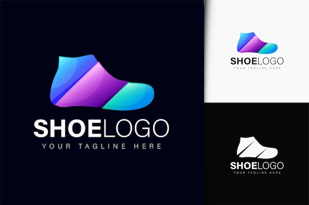 Design do logotipo do sapato com gradiente