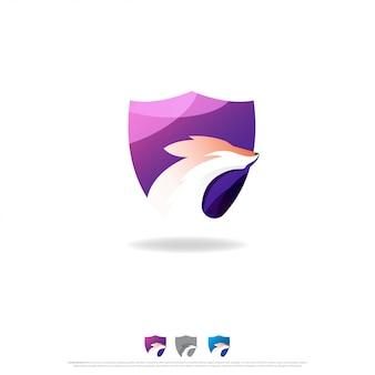 Design do logotipo do shield fox