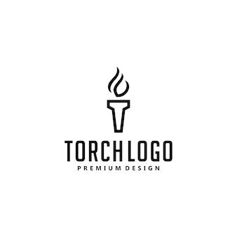 Design do logotipo do símbolo da tocha de luz inicial t