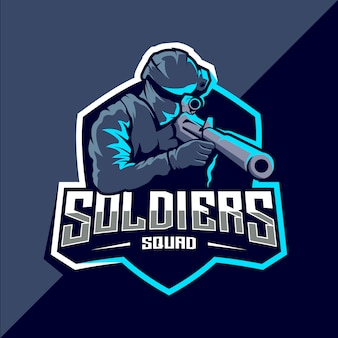 Design do logotipo do soldado mascote esport
