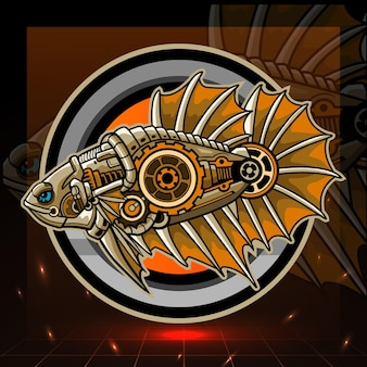 Design do logotipo do steampunk betta fish mascote esport