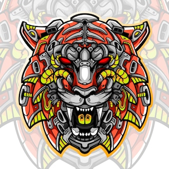Design do logotipo do tiger head mascote esport