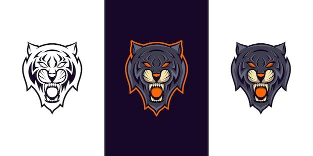 Design do logotipo do tigre selvagem e mascote do esporte
