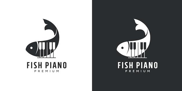 Design do logotipo do tubarão e música de piano