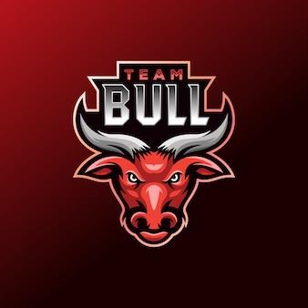 Design do logotipo do usuário do jogo do mascote do red bull e sport