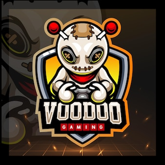 Design do logotipo do voodoo gaming mascote esport