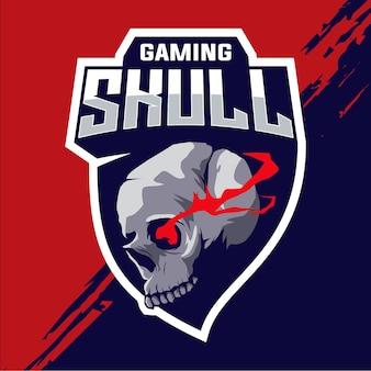 Design do logotipo esport do mascote da cabeça do crânio do jogador