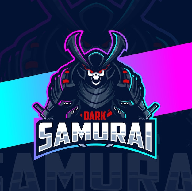 Design do logotipo esport do mascote do crânio de samurai escuro