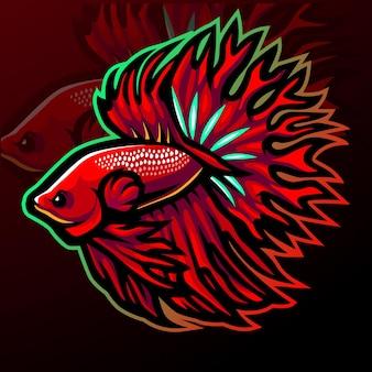 Design do logotipo esport do mascote do peixe betta cauda da coroa