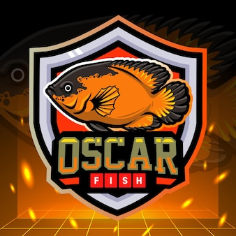 Design do logotipo esport do mascote do peixe oscar dos ciclídeos