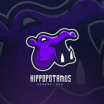 Design do logotipo esport do mascote hipopótamo