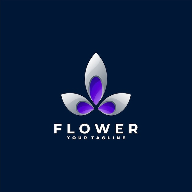 Design do logotipo gradiente da cor da flor