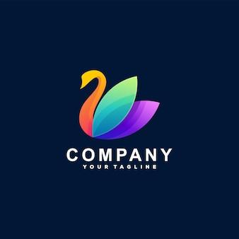 Design do logotipo gradiente da cor do cisne Vetor Premium