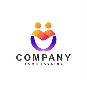 Design do logotipo gradiente da cor do coração