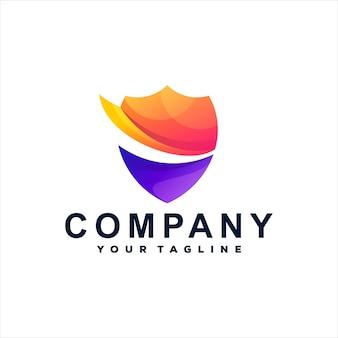 Design do logotipo gradiente da cor do escudo