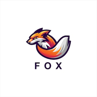 Design do logotipo gradiente da fox gaming