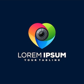 Design do logotipo gradiente da lente da câmera