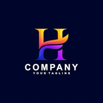 Design do logotipo gradiente da letra h