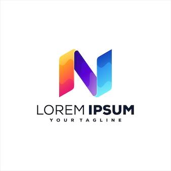 Design do logotipo gradiente da letra n