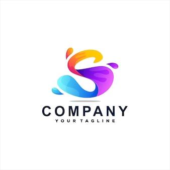 Design do logotipo gradiente da letra s Vetor Premium
