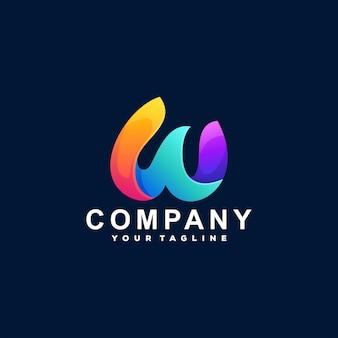 Design do logotipo gradiente da letra w