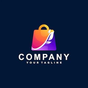 Design do logotipo gradiente da sacola de compras
