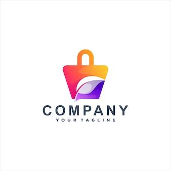 Design do logotipo gradiente da sacola de compras Vetor Premium