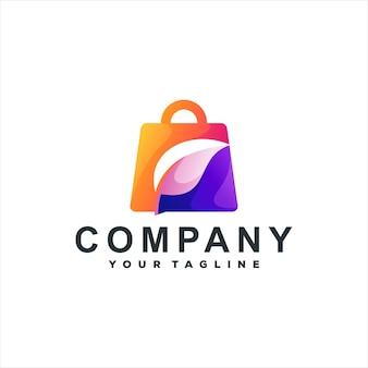 Design do logotipo gradiente de cor da bolsa