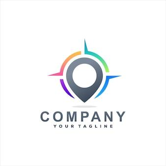 Design do logotipo gradiente de cor da bússola