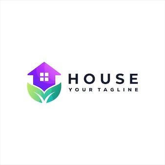 Design do logotipo gradiente de cor da casa