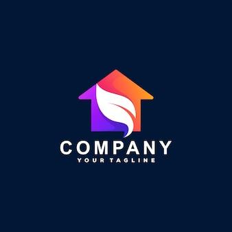 Design do logotipo gradiente de cor da casa Vetor Premium