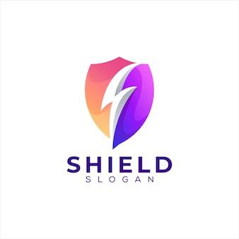 Design do logotipo gradiente de cor de escudo