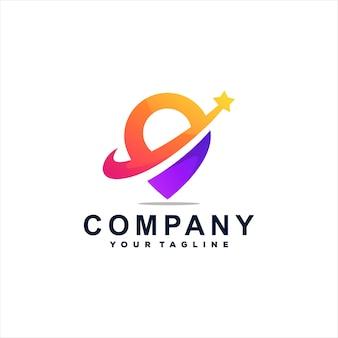 Design do logotipo gradiente de cor do pino