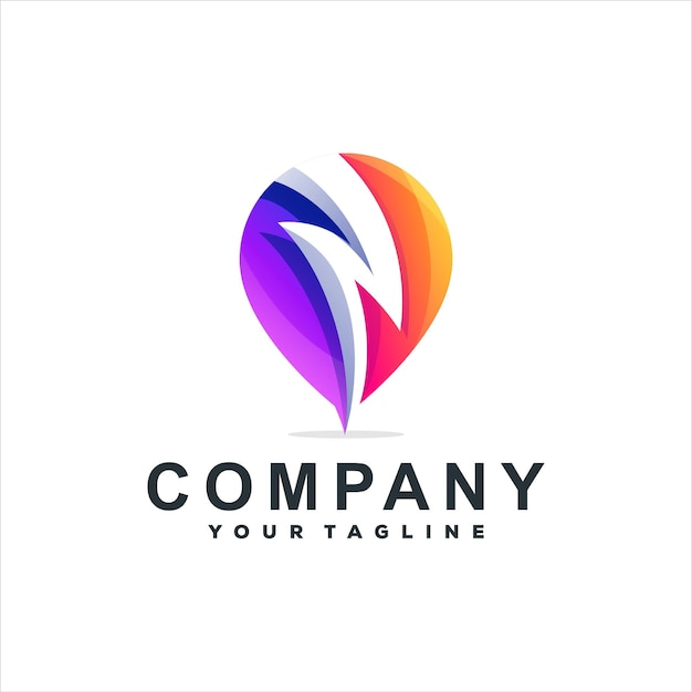 Design do logotipo gradiente de cor flash