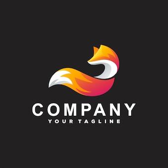 Design do logotipo gradiente de cores da fox