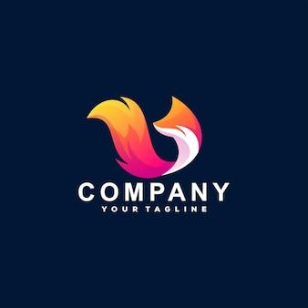 Design do logotipo gradiente de cores da fox Vetor Premium