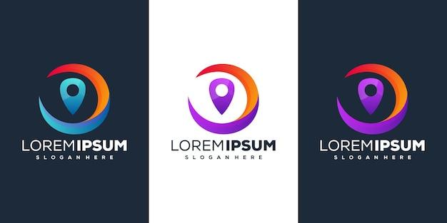 Design do logotipo gradiente de localização do pino