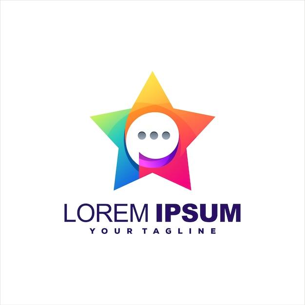 Design do logotipo gradiente do bate-papo da estrela
