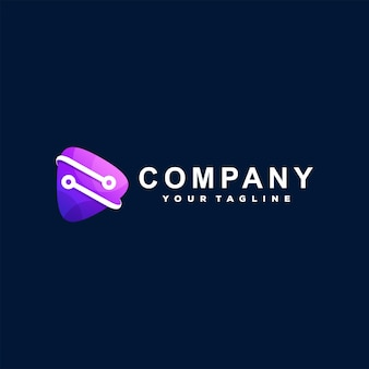Design do logotipo gradiente do botão play