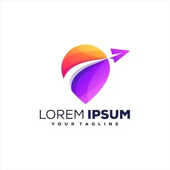 Design do logotipo gradiente do pino de viagem