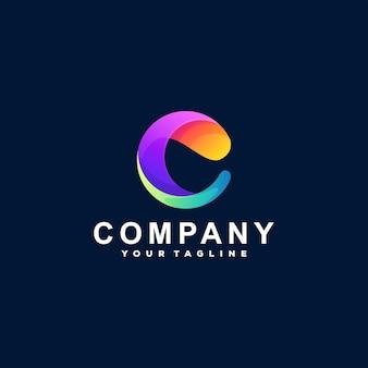 Design do logotipo gradiente letra c