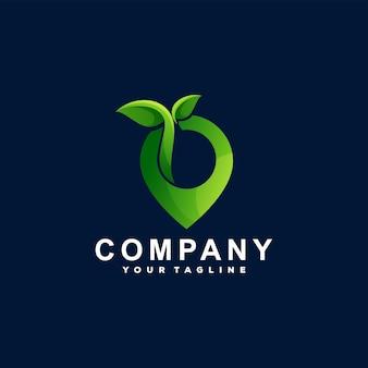 Design do logotipo gradiente verde do pino Vetor Premium