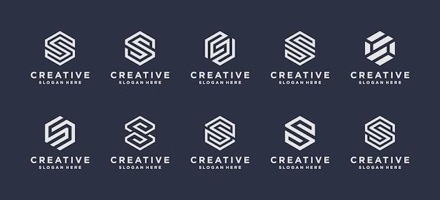Design do logotipo inicial da letra s do monograma.