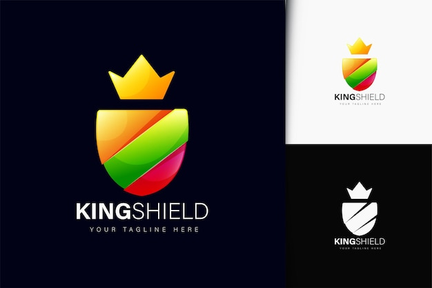 Design do logotipo king shield com gradiente